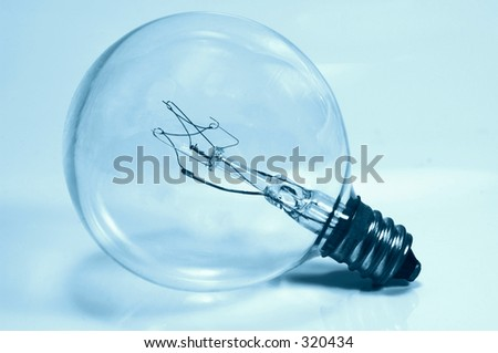 Light Bulb in Cyan Tone