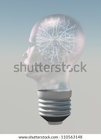 Light bulb in form of human head with electric arc inside