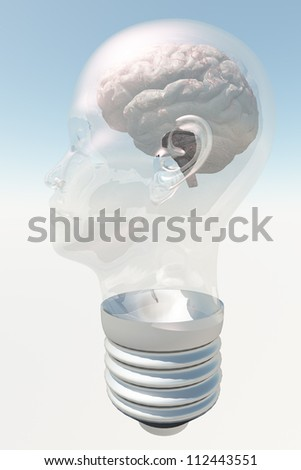 Light bulb in form of human head with human brain