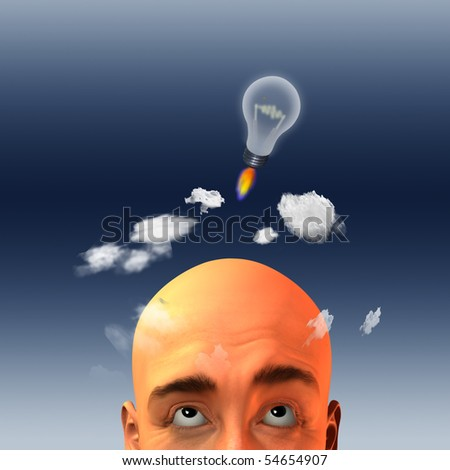 Light bulb in form of rocket lift above mans head