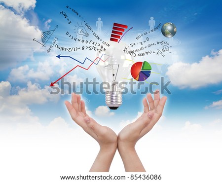 Light bulb in hand with graph out