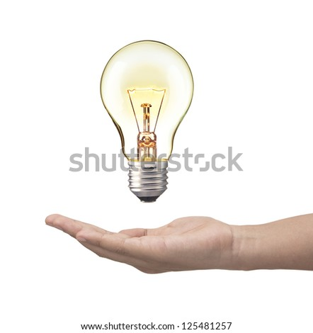Light bulb in woman hand,Realistic photo image. Turn on tungsten light bulb with hand, isolated on white background. - stock photo