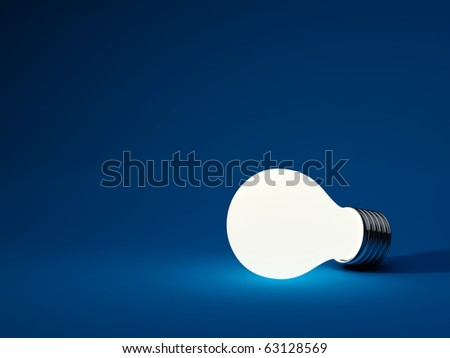 Light bulb isolated on blue background