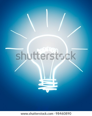 Light bulb isolated on dark blue. Drawn frozen light