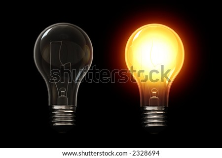 Light bulb isolated over a black background. This is a 3D rendered picture.