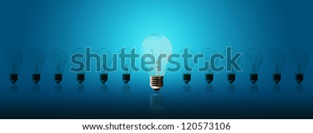 Light bulb lamps on a blue background
