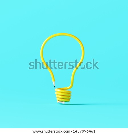Light bulb made of pencil on blue background. Creative idea. Minimal concept. 3d rendering