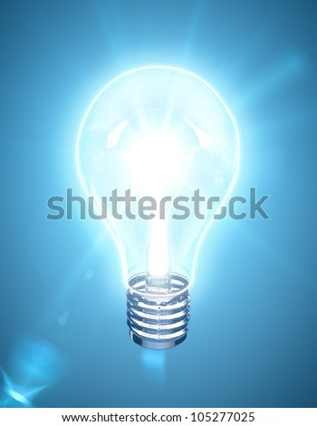 light bulb on a blue background
