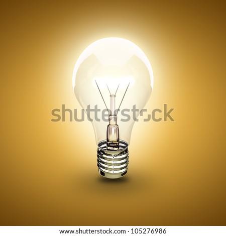 light bulb on a orange background