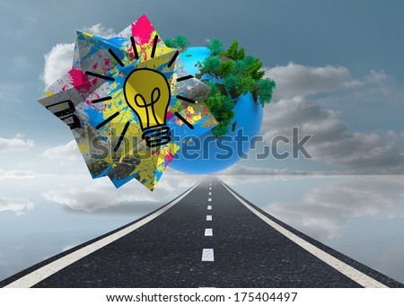 Light bulb on abstract screen against digitally generated earth floating over street