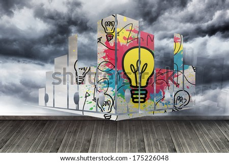 Light bulb on abstract screen against sky painted on wall