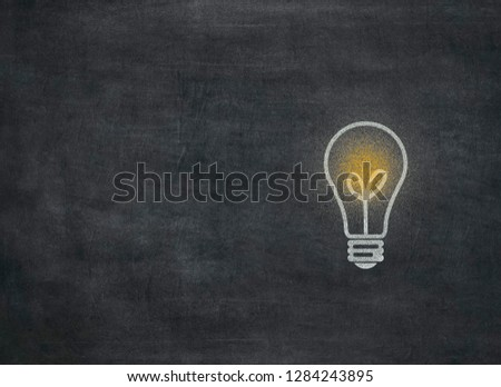 Light bulb on blackboard to mean a concept to mean a concept