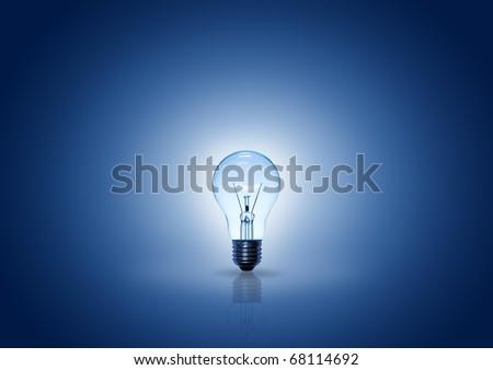 light bulb on blue background