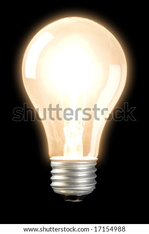 Light bulb on bright isolated on a black background