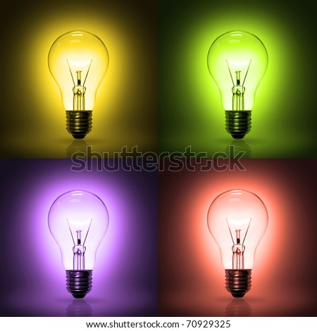light bulb on colorful background.