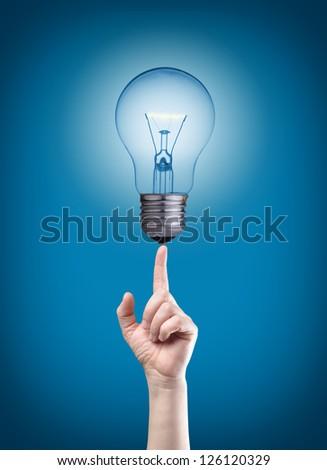 Light bulb on tip of finger