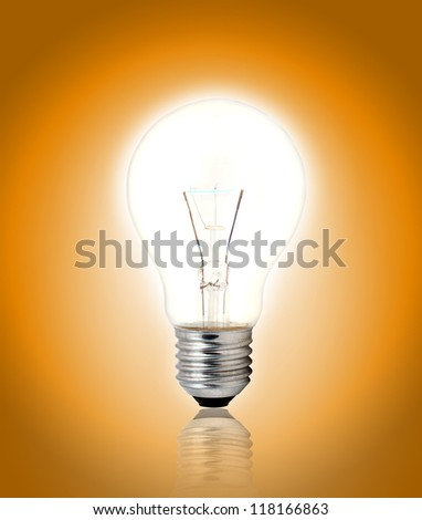 light bulb on yellow background.