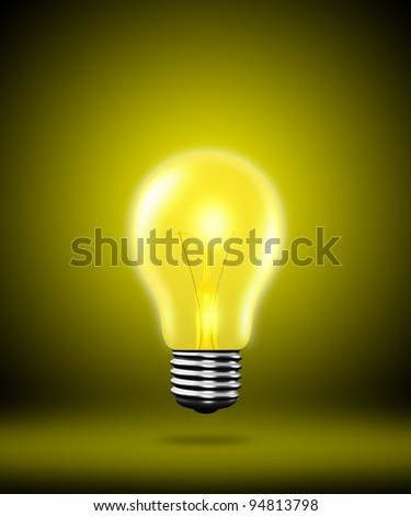 light bulb on yellow background. - stock photo