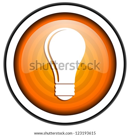light bulb orange glossy icon isolated on white background