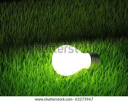 Light bulb over green grass