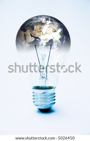 Light bulb & planet earth (courtesy of NASA) global power concept - image is supposed to be quite stark & contrasty