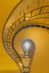 light bulb shaped cubism staircase in historical building in the centre of old Prague