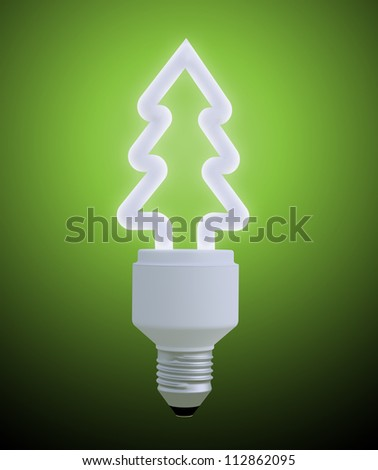 Light bulb shaped like a Christmas tree