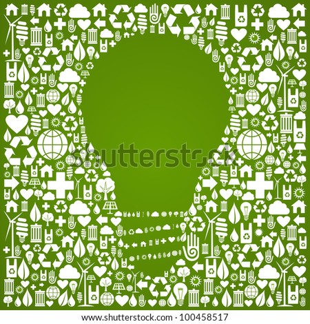 Light bulb symbol over green icons set background.