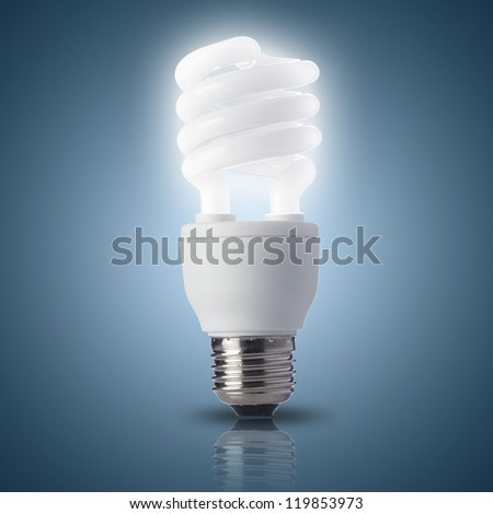 Light bulb turn on with blue background