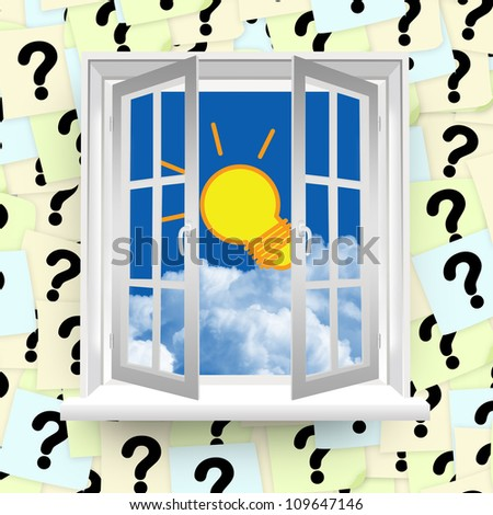Light Bulb With Blue Sky Outside The Window With Question Mark Label Background
