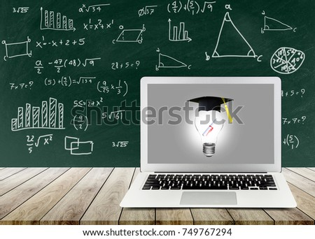 light bulb with certification on labtop show the ingenuity intelligence knowledge and success on blackboard, inspiration with education concept.