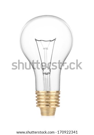 Light bulb with coins on white background