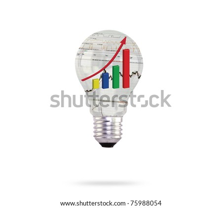 light bulb with financial charts