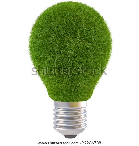 light bulb with green grass. isolated on white.