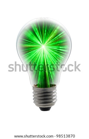 light bulb with green light