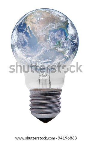 light bulb with planet earth on white