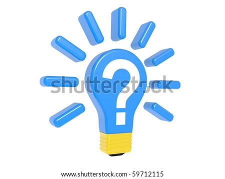 Light bulb with question on a white background