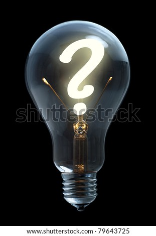 Light bulb with question sign on black background