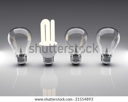 Light bulbs 3d high resolution rendering. Concept of energy saving, individuality, leadership, diversity...