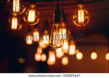 Light bulbs hanging from the ceiling #590089667