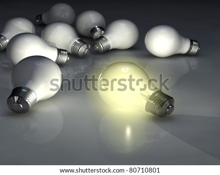 Light bulbs, High-resolution 3d rendering
