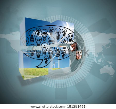 Light bulbs in speech bubble on abstract screen against holographic earth with pictures
