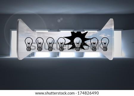 Light bulbs on abstract screen against doors opening revealing light