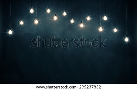 light bulbs on dark blue...