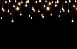 Light bulbs over dark texture