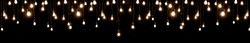 Light bulbs over dark texture. Edison light bulbs background. for website header. Vintage lamps hanging on the ropes