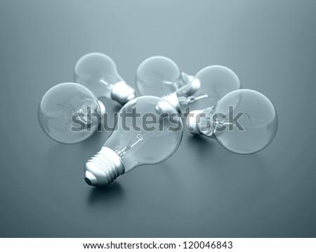 Light bulbs rendered on dark background