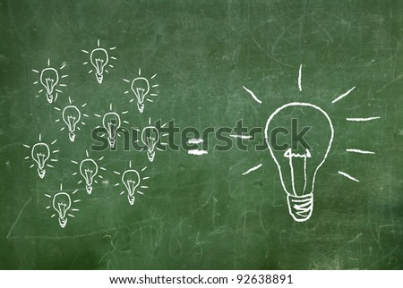 light bulbs sketched on chalkboard