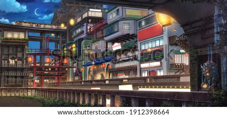 Light City - Night , 2D Anime background , 2D Illustration.