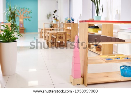Light class in Montessori kindergarten. The pink tower is in the foreground. nobody. ストックフォト ©